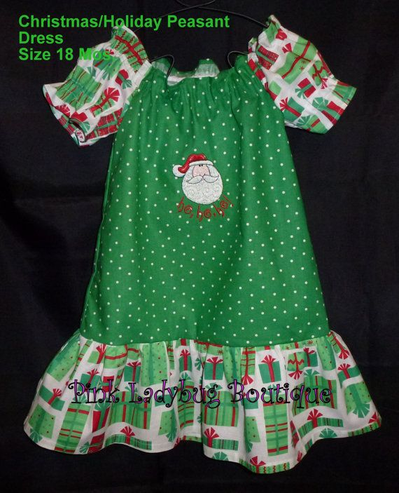 Christmas holiday peasant dress size 18 months is by mypinkladybug