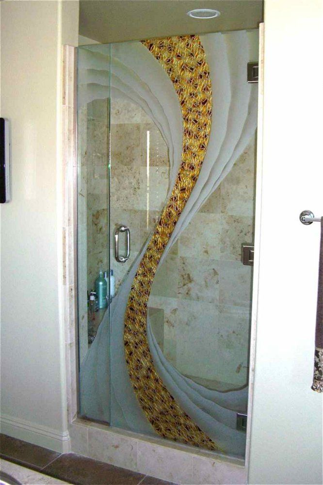 Etched decorative glass shower swirl doors beautiful for Bathroom door designs pictures