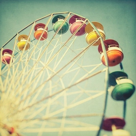 I don't know why pastels and brights under a sepia wash make me so happy... And Ferris wheels of course.
