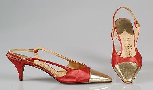 Cocktail Ensemble Shoes c.a. 1962, Medium: silk, metal, leather