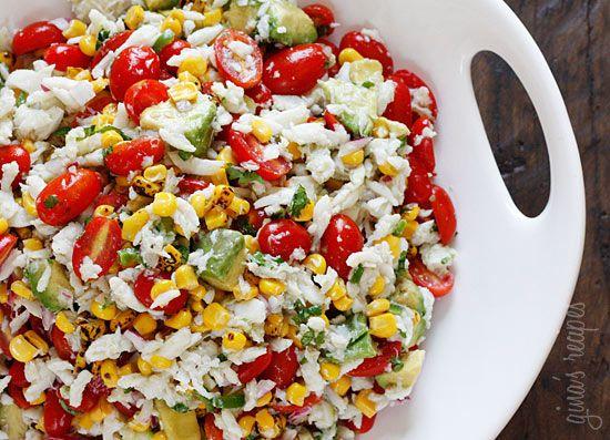 Summer tomatoes, crab, corn, and avocado salad.