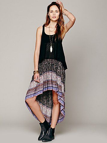 Free People Border Print Highlow Slip Skirt