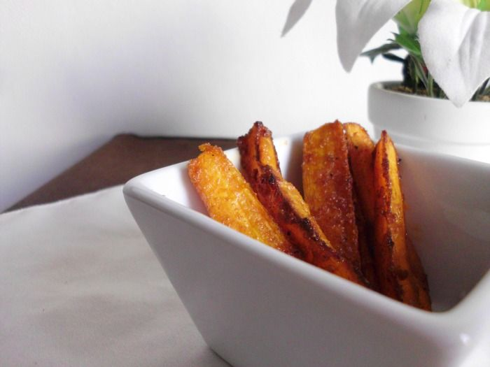 Sweet & Spicy Baked Carrot Fries | Finger Food | Pinterest