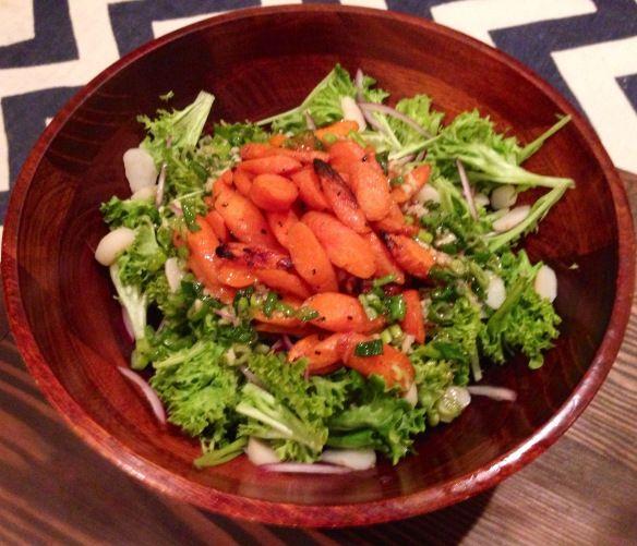 Asian style roasted carrot salad with scallion sesame vinaigrette