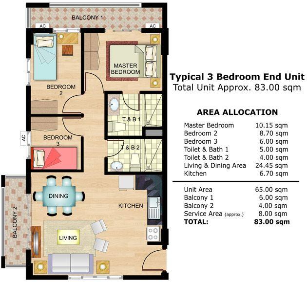 Pin by best manila condo on cedar crest pinterest for 3 bedroom unit floor plans