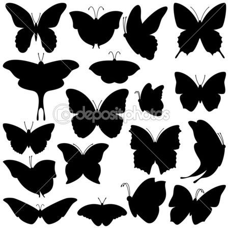 Vector Collection of Butterfly Silhouettes — Stock Illustration #25591219