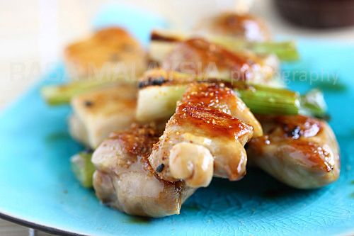 Yakitori (Japanese Grilled Skewered Chicken): assortment of grilled ...