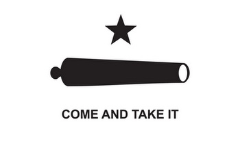 This flag dates back to the Battle of Gonzales during the Texas revolution. I've always preferred it to the Lone Star flag.