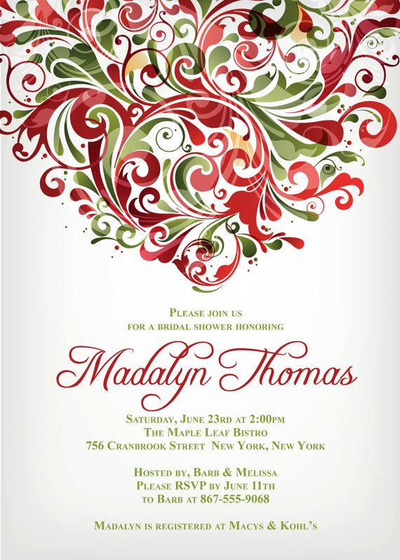 BRIDAL SHOWER, Dinner Party Christmas HOLIDAY Themed Invitation size 4 ...