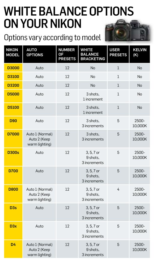 for using them creatively)    White balance options on all current Nikon DSLRs (and tips for using them creatively)