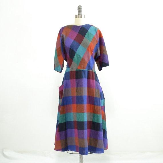 Vintage 80s Plaid Dress with V Back Multi Color by 830Vintage, $28.00