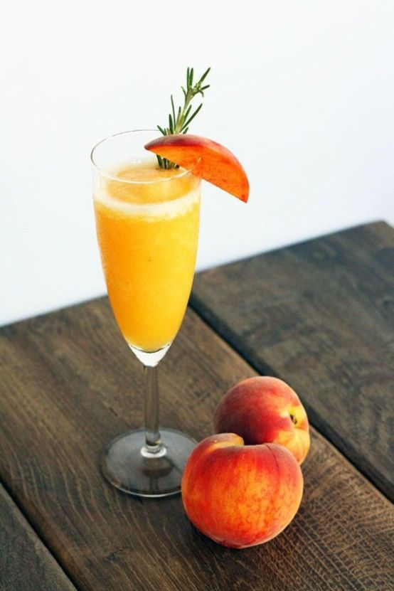 Rosemary Infused Frozen Peach Bellini. | syrup | Pinterest