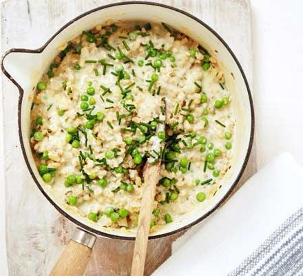 Creamy pea & chive risotto - uses barley and cream cheese. use leeks.