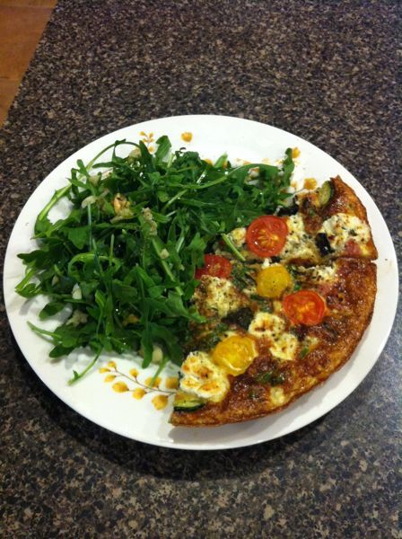 Grilled Zucchini Frittata with Goat Cheese and Cherry Tomatoes