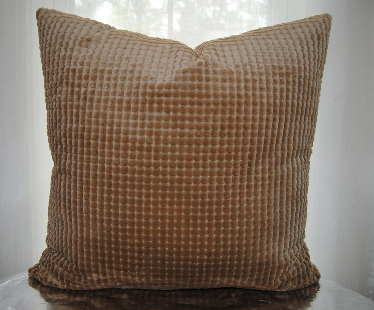24x24- BOTH SIDES - Decorative Pillow Cover - Taupe Check - Feels like Velour - Upholstery ...