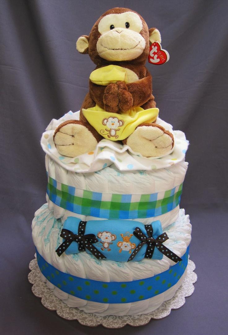 Diaper cake perfect for a monkey theme baby shower baby shower favors pinterest - Baby shower cakes monkey theme ...