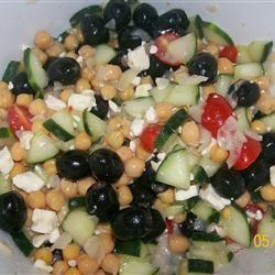 Greek Bean Salad. Subbing black eyed peas for the garbanzo beans.