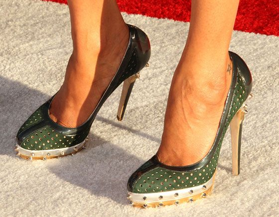 """GI army green with gold heels and studs - """"Pois"""" by Brian Atwood"""