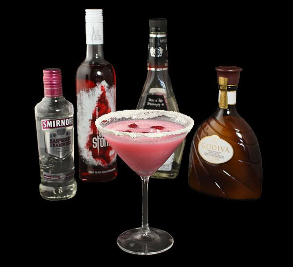 photo of a Chocolate Raspberry Martini displayed with bottle of ...