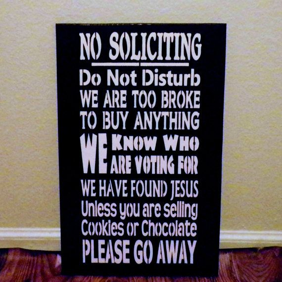 Wood primitive painted funny sign no soliciting we found jesus - Funny soliciting signs ...