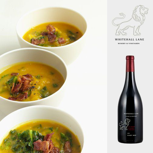"""We'd pair this """"Acorn Squash Soup with Kale"""" with our Pinot Noi..."""