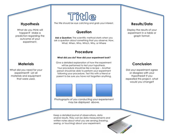 Tri-Fold Board for Science Project - http://www.dadthesingleguy.com/2013/03/31/the-final-science-fair-project-not-so-wispy/