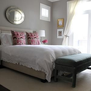 Alexandra Berlin Design - bedrooms - gray, walls, glass, lamps, thrift store, nightstands, ruffled, duvet, bench, oval, mirror, gray walls, gray paint, gray bedroom colors, gray paint colors, Williams-Sonoma Home Hampton Headboard, Pink Ikat Pillow,