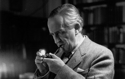 "J.R.R. Tolkien.  This picture links to his awesome, 'in-your-face' reply to the German government in 1938, after inquiries about his ""Aryan"" descent before publication of The Hobbit in German."