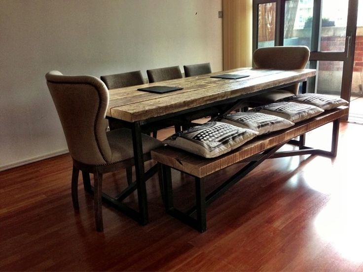 650 Industrial Mill Style Reclaimed Wood Dining Table And Benches