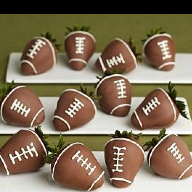 Chocolate covered strawberry footballs | because i can pretend to coo ...