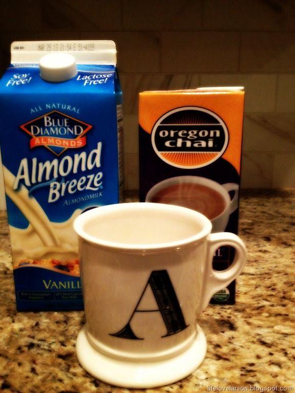 Kicks off the fall season with a chai tea latte in an anthro mug