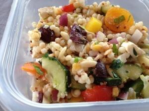Mediterranean grain salad with olives, feta, mozzarella, fresh herbs ...