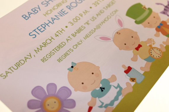 alice in wonderland baby shower invitations by papermonkeycompany 1