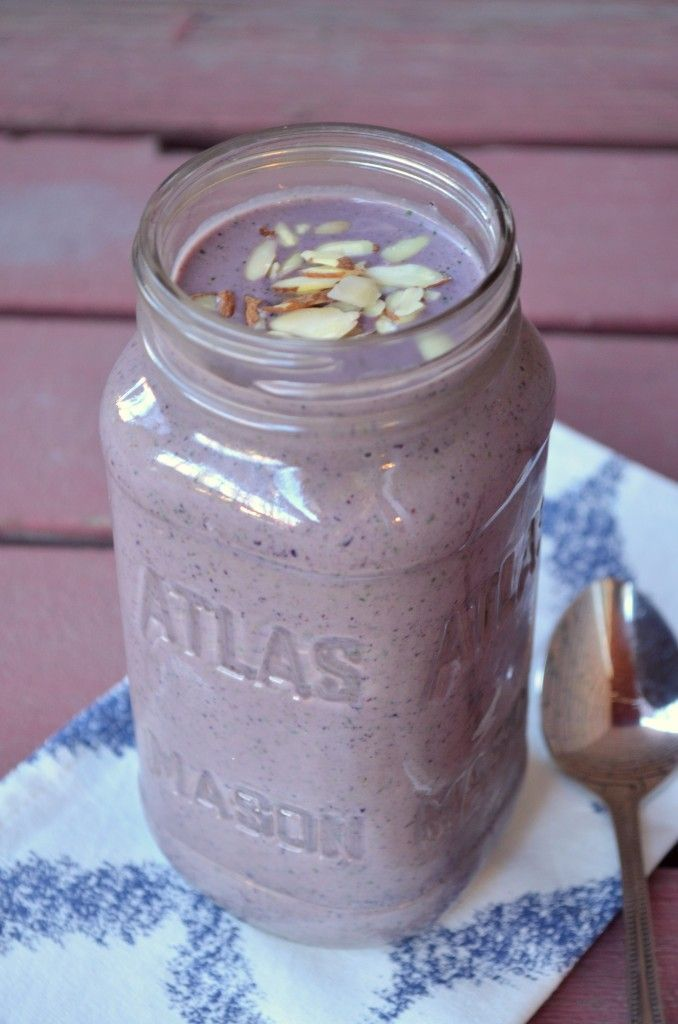 Blueberry Almond Chia Smoothie Blend together….. 1 frozen banana ...