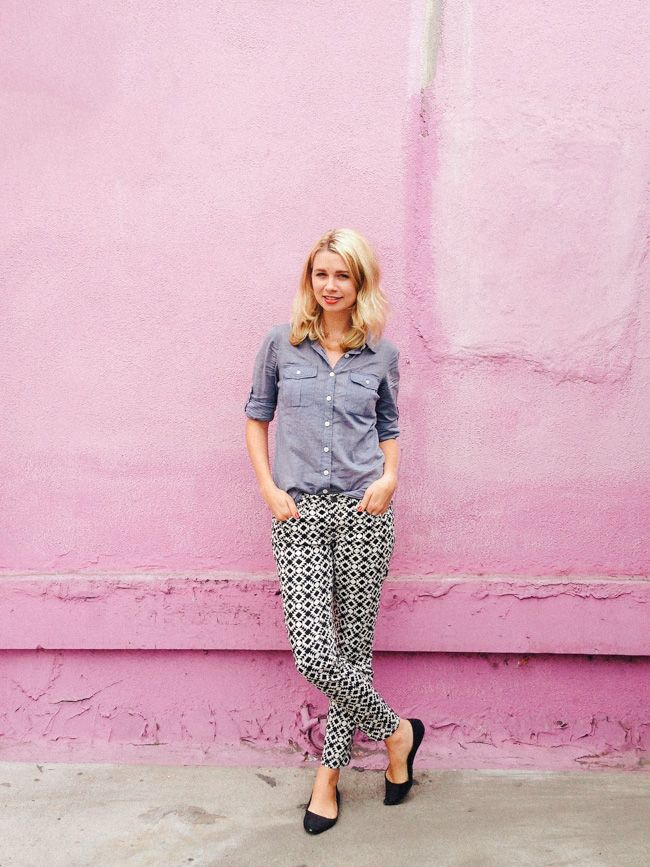 Patterned pants with denim shirt