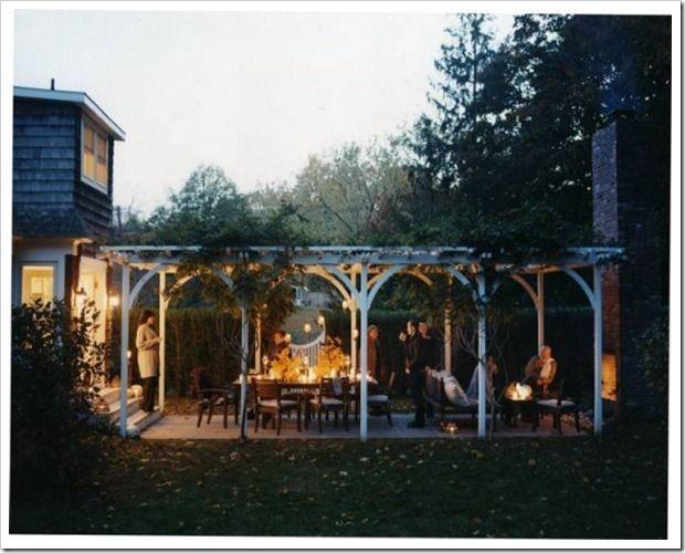 pergola outdoor fireplace patio