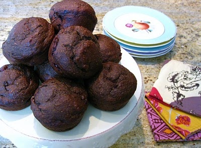 Double Chocolate Cherry & Goat Cheese Muffins