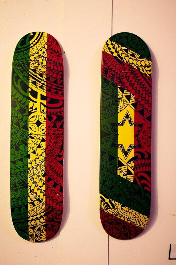 Rasstars hand painted skate decks for Best paint for skateboard decks