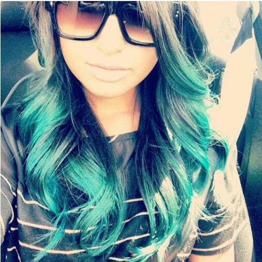 black to turquoise ombre hair - photo #37