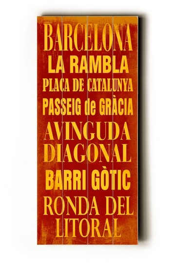 worn wood barcelona sign - to remember all the years and where we met! :)