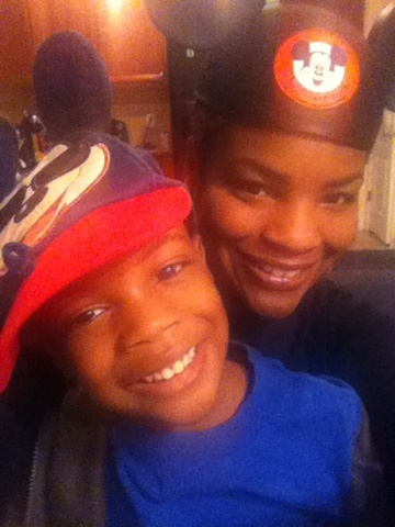 My son and I ready for our trip to Disney!