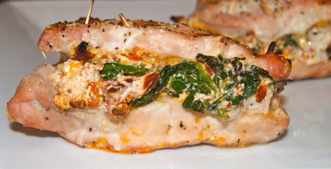 Goat Cheese, Spinach and Tomato Stuffed Pork Chops