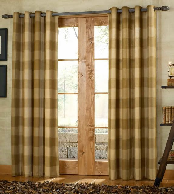 Buffalo Check curtains on a dark curtain rod - nursery curtains?