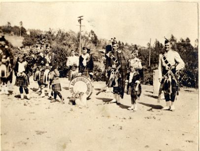 Los Angeles Scottish Pipe Band and Concert Company, who performed at the Red Cross Outdoor Carnival, August 10, 1918. The event was organized by the Mother's Club of Marian. Dance music was also provided by the Dodge Orchestra of Glendale. The Mother's Club of Marian was the precursor to the Reseda Woman's Club. Reseda Women's Club Collection. San Fernando Valley History Digital Library.