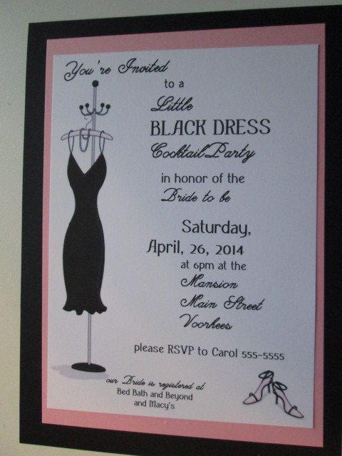Little Black dress customized bridal wedding shower invitation layered ...