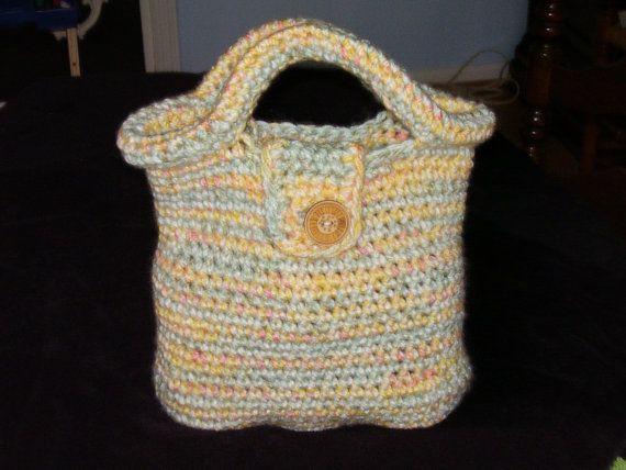 Crochet Lunch Bag : Crochet yellow green orange purse/lunch bag by TenderTatter, $20.00