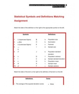 statistical symbols and definitions matching assignment