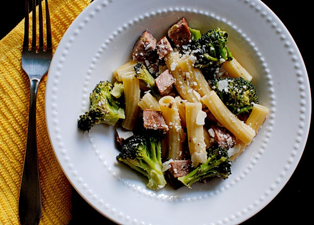 Rigatoni with broccoli and sausage, or in my case, chicken sausage ...