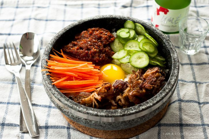 Dolsot bibimbap. Substitute pulled pork with your choice of vegetarian ...