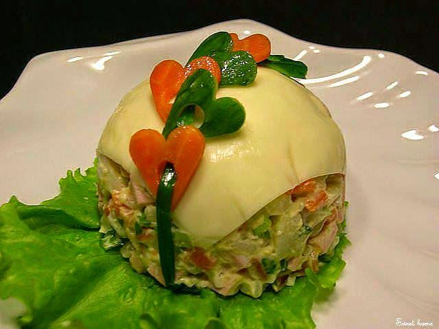 Как украсить порционно салат